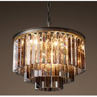 Люстра RH 1920s Odeon Smoke Glass Fringe Chandelier - 3 rings