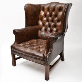 Кресло Vintage Leather chesterfield High Back Wing Chair