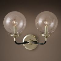Бра Bistro Globe Clear Glass Double Sconce Nickel