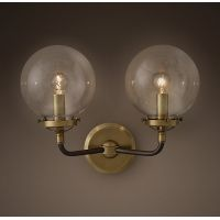 Бра Bistro Globe Clear Glass Double Sconce Brass