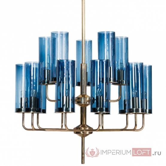 Люстра Hans-Agne Jakobsson Brass & Blue Glass Tube Chandelier designed by Hans-Agne Jakobsson in 1970 от ImperiumLOFT