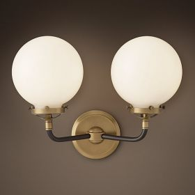 Бра Bistro Globe Clear Glass Double Sconce Brass Milk