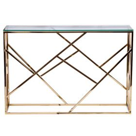 Консоль Serene Furnishing Gold Clear Glass Top Console