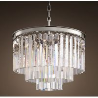 Люстра RH 1920S ODEON CLEAR GLASS FRINGE 3-TIER CHANDELIER nickel