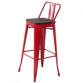 Барный стул Tolix Bar Stool 75 Backed Wood Red designed by Xavier Pauchard		 in 1934