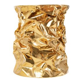 Приставной столик Stool Gold Crumpled Paper