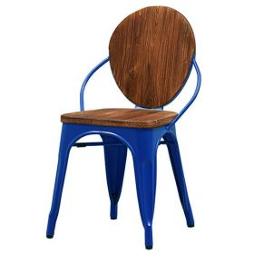 Стул Tolix chair Wooden Blue designed by Xavier Pauchard