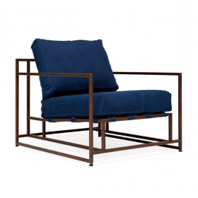Кресло Kenn X Miller armchair Indigo and copper denim designed by Stephen Kenn and Simon Miller