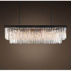Люстра RH 1920s Odeon Clear Glass Fringe Blackiron 125