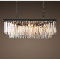 Люстра RH 1920s Odeon Clear Glass Fringe Grey iron 90