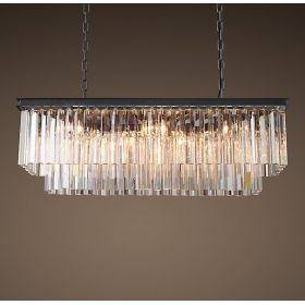 Люстра RH 1920s Odeon Clear Glass Fringe Black iron 90