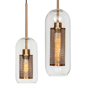 Perforation Pendant Lamp Gold Oval