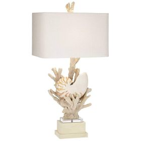 Nautilus Shell and White Coral Table Lamp