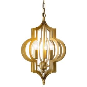 Люстра Scarlett Hollywood Regency Gold Leaf Pattern Pendant Chandelier